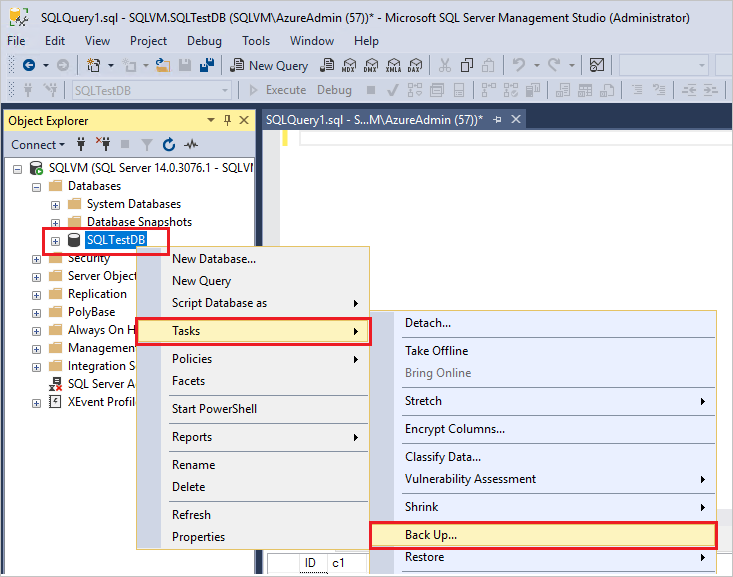Database support example: SQL und Mircosoft