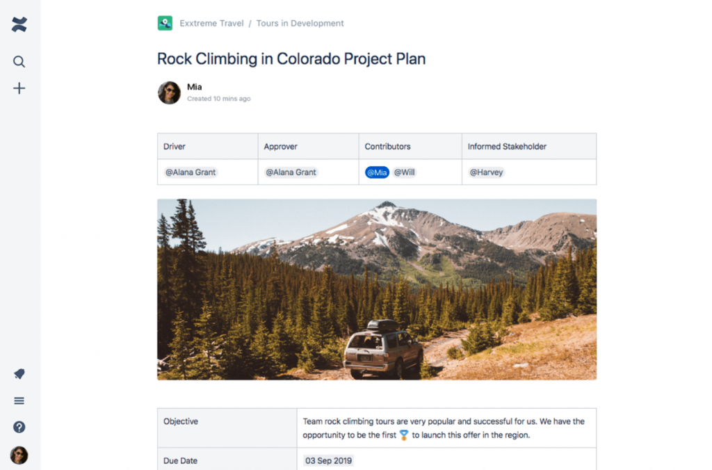 Confluence Project Plan Template