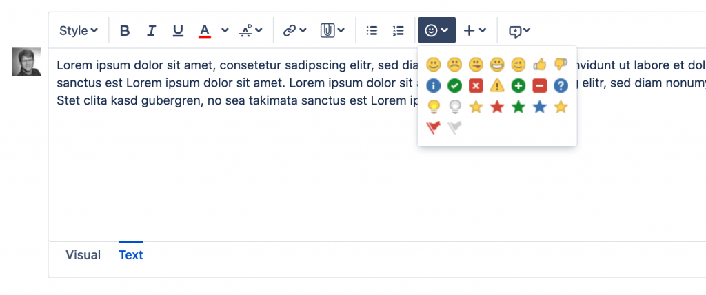 Default Emojis offered by Jira