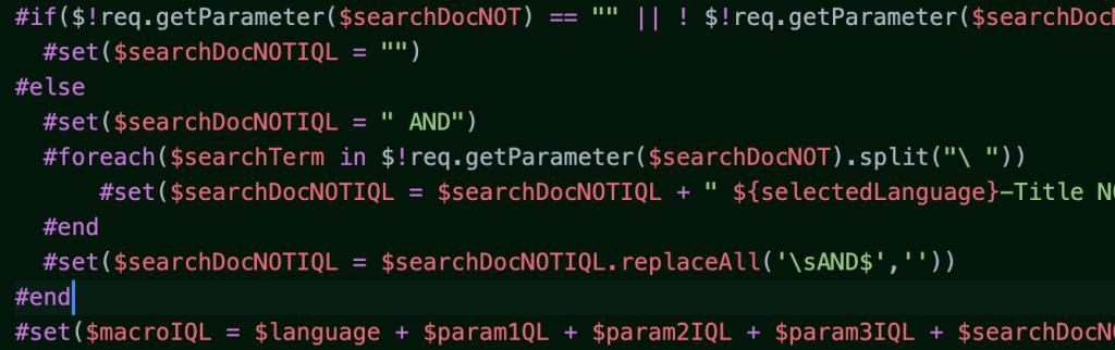 Velocity Code Example